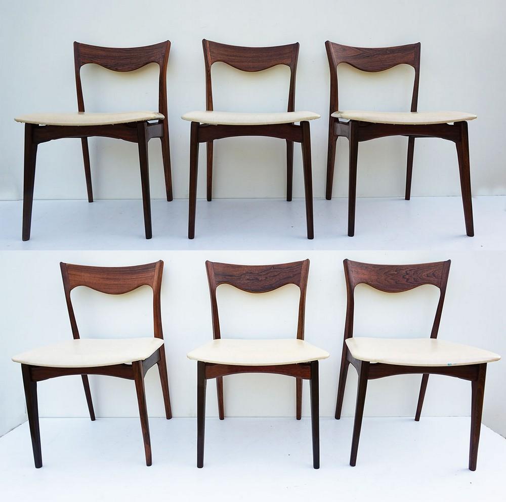 6 Vintage Eetkamerstoelen.Set Of 6 Rosewood Dinging Chairs By Awa Holland