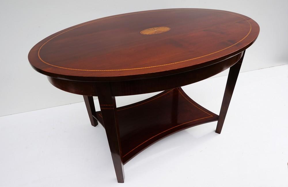 Antique Oval Inlaid Mahogany Coffee Table, Side Table. Antieke, Mahonie,  Houten, Biedermeier, Salontafel, Bijzettafel, Wijntafel, Inlegwerk,