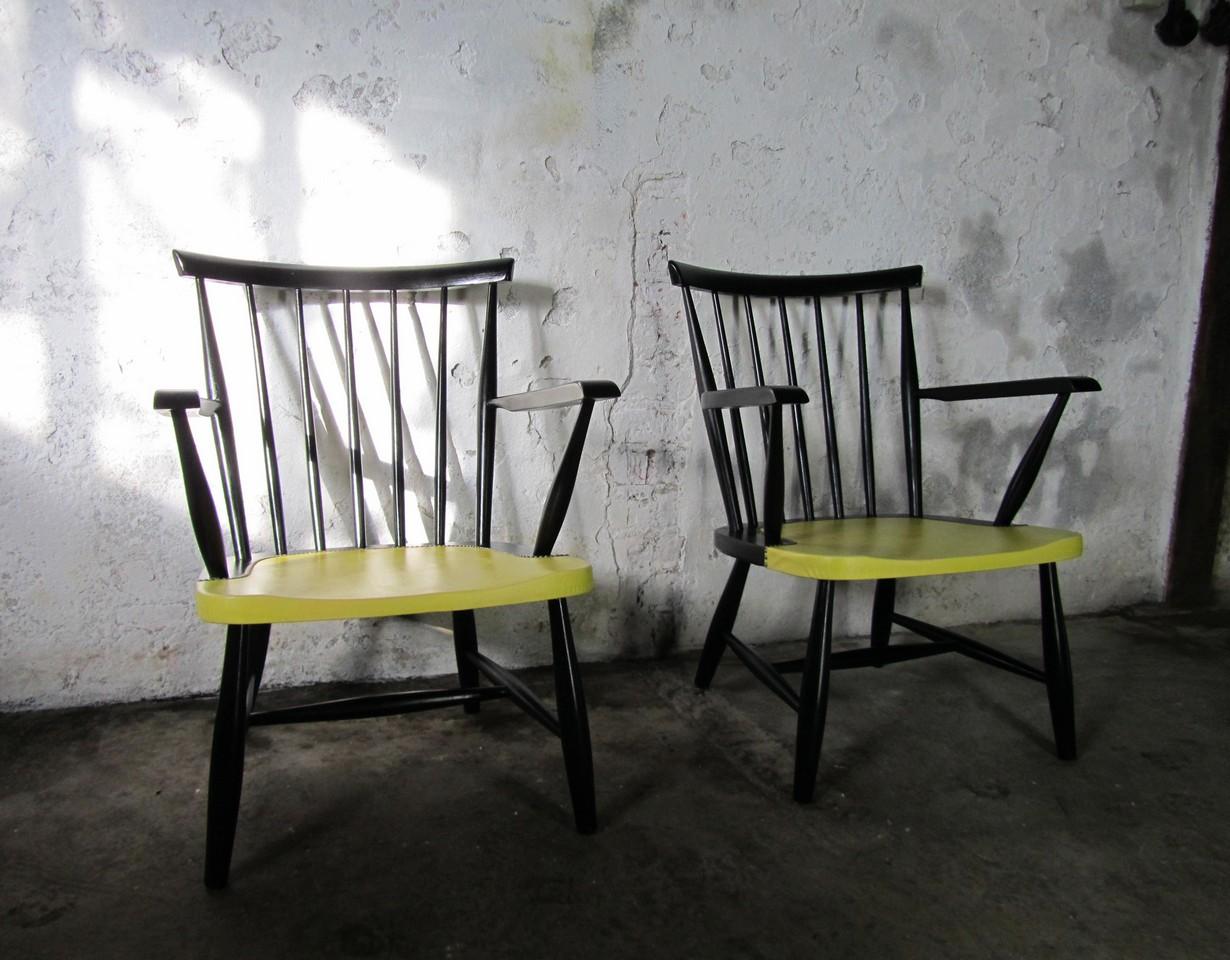 2 Vintage Fauteuils.Set Of 2 Spindle Back Armchairs Tapiovaara Yngve Ekstrom Style