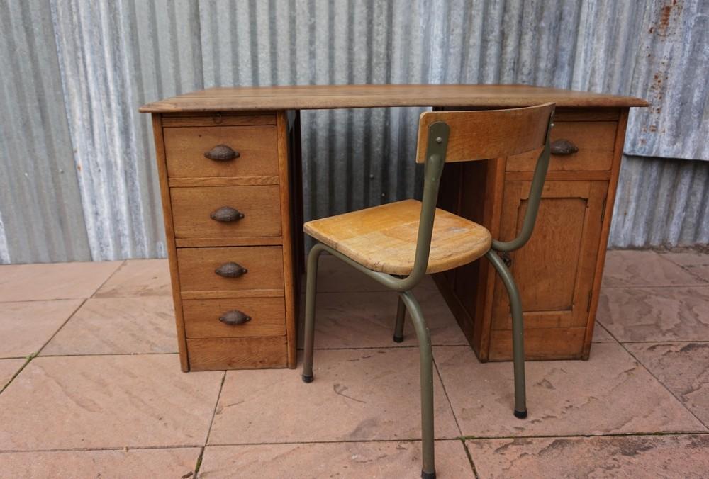 Antiek Bureau Klein.Klein Vintage Eiken Bureau