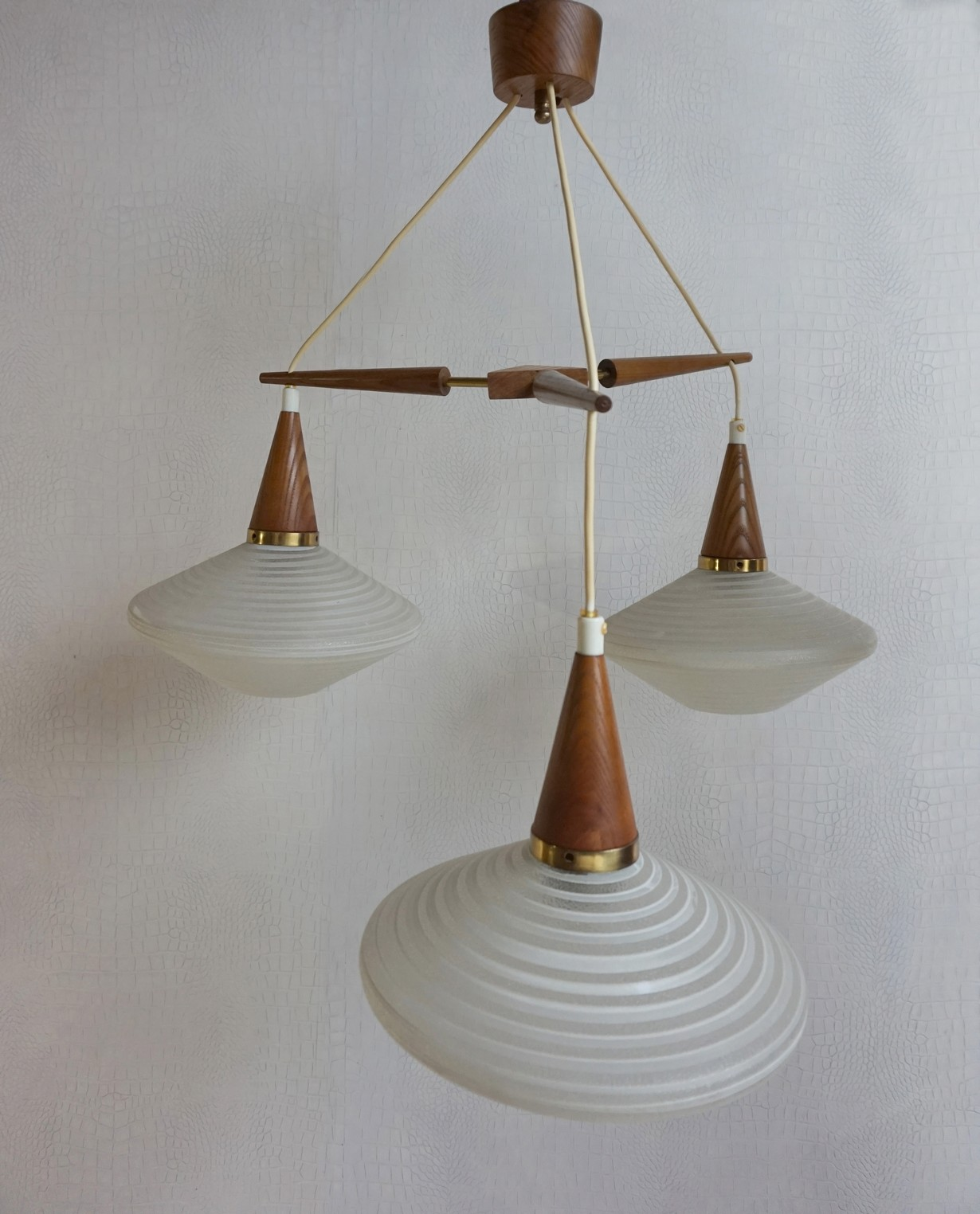 Teak, glass, Danish, lamp, pendant, cieling, light, chandelier, pastoe, hanglamp, vintage