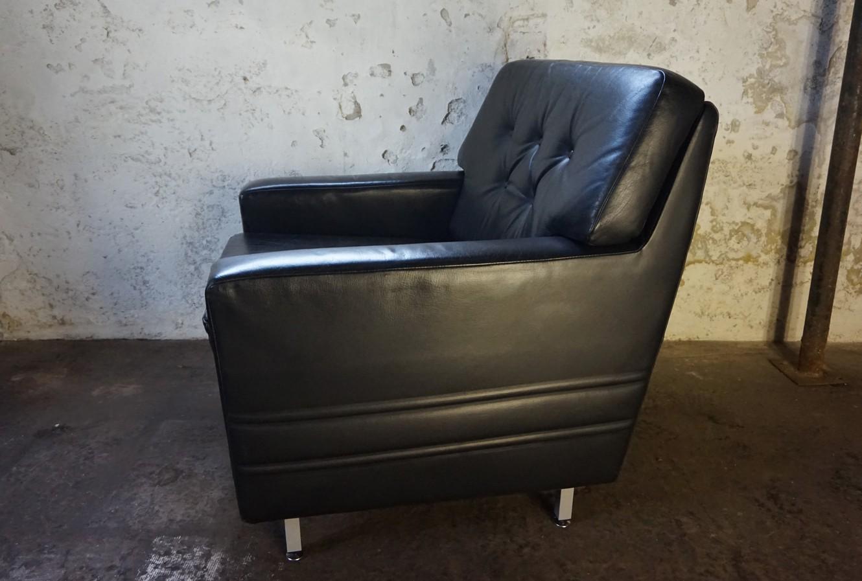 Zwart leren vintage club fauteuils van het duitse merk profilia uit de jaren 60 - Zeer comfortabele fauteuil ...