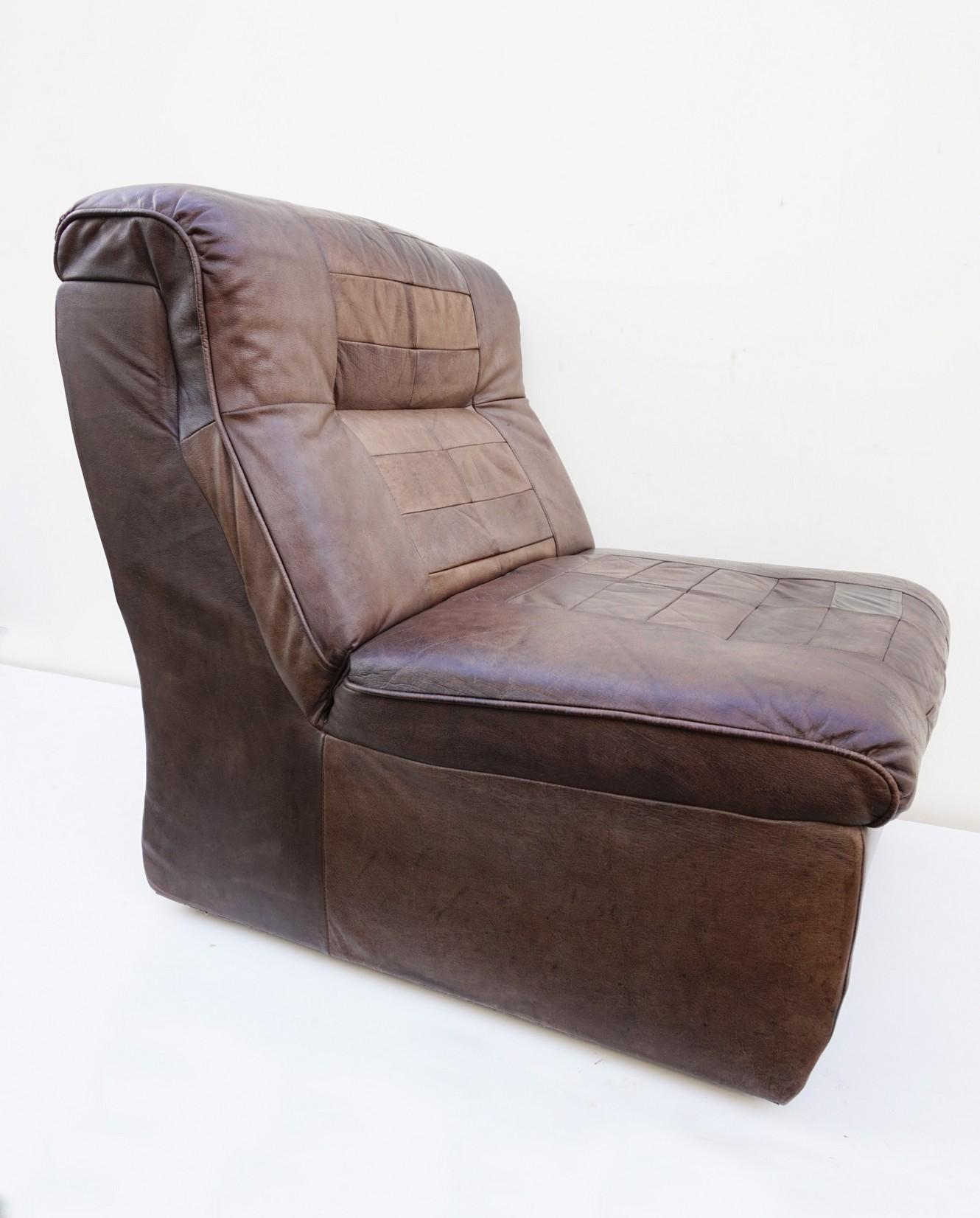 Leren Lounge Fauteuil.Vintage Leren Patchwork Lounge Fauteuil