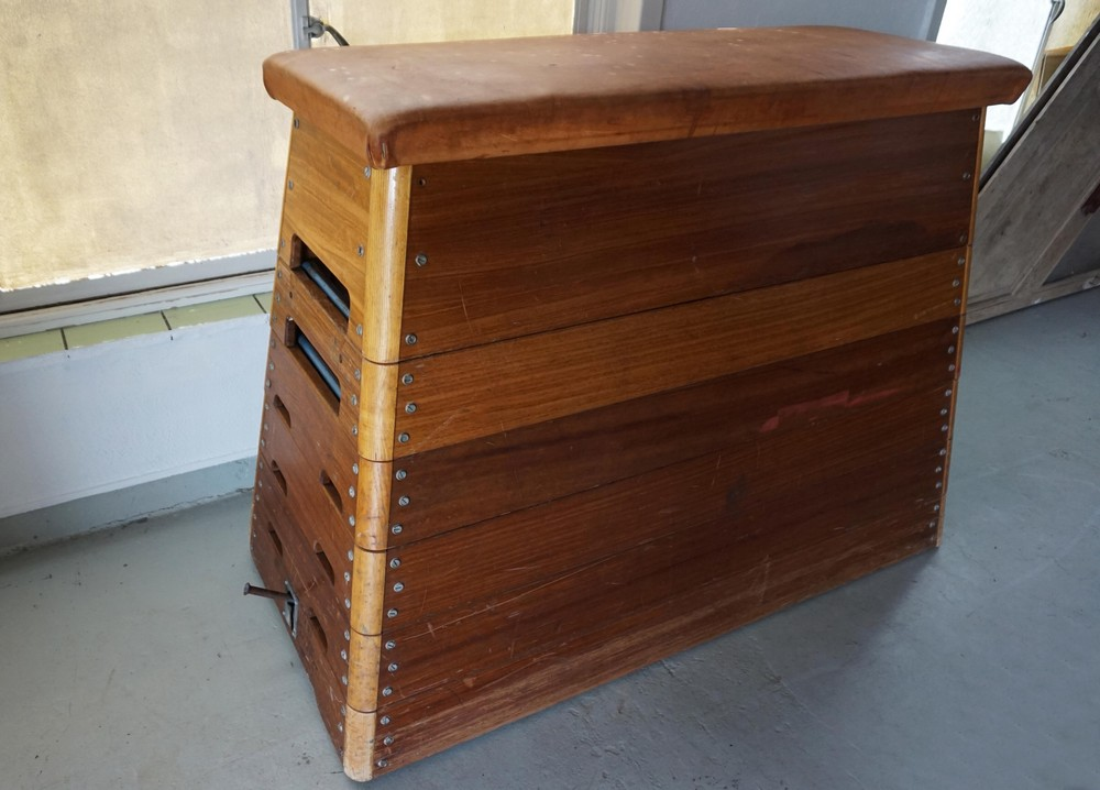 Vintage Wooden Gym Box Bench With Leather Top