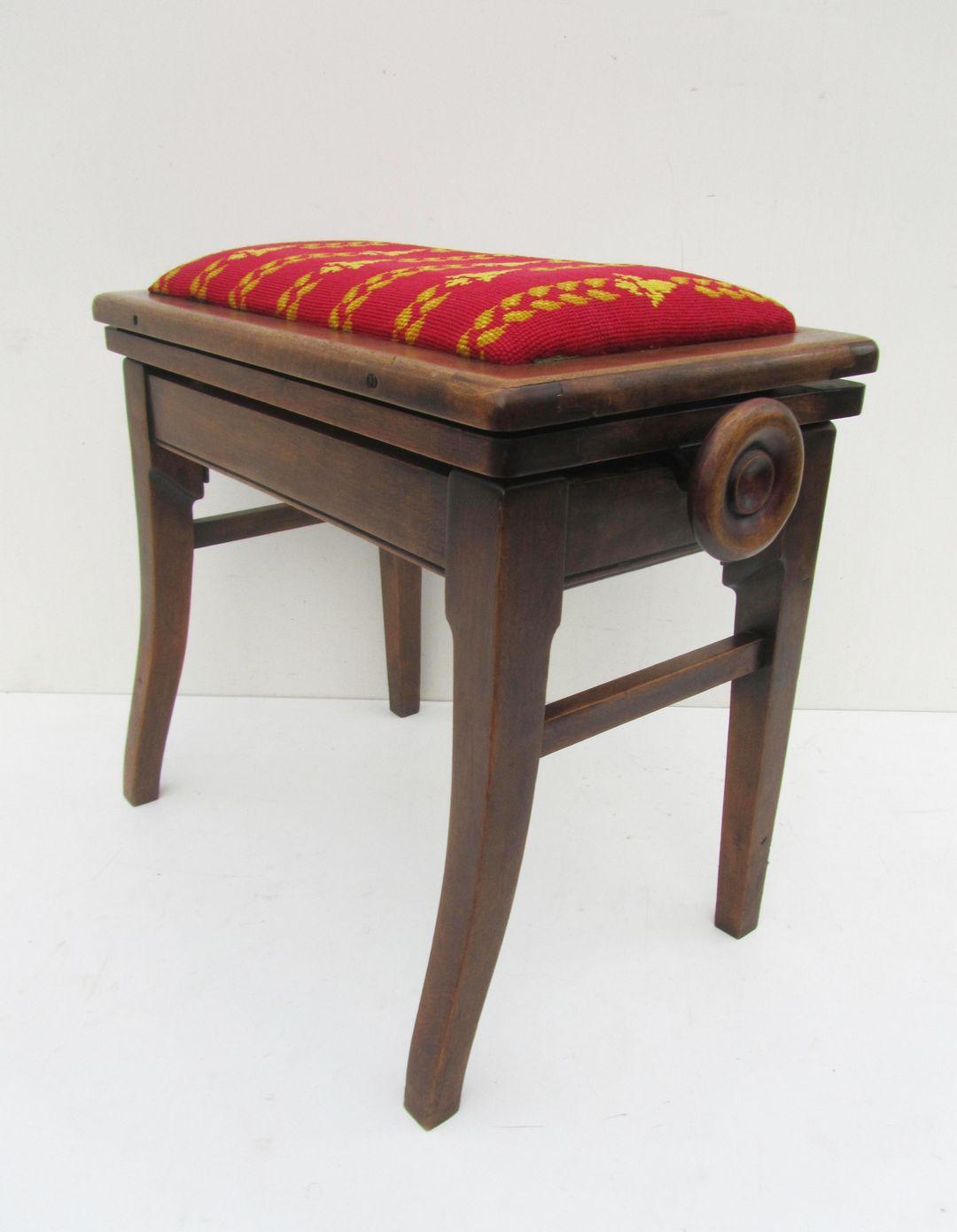 Antieke, Vintage, Verstelbare, Houten, Piano, Kruk, Engels, Adjustable,