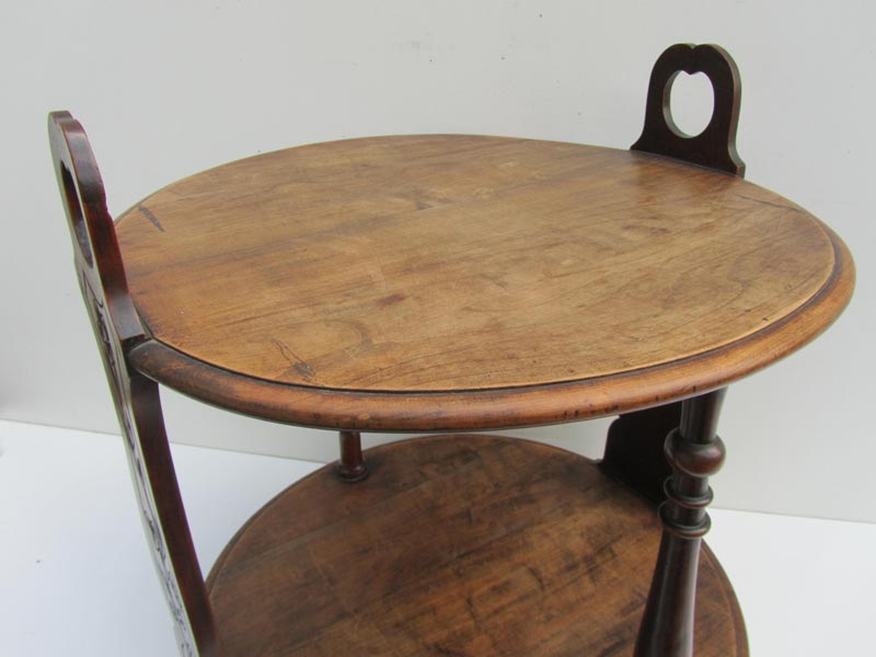 Antiek rond houten bijzettafeltje art nouveau