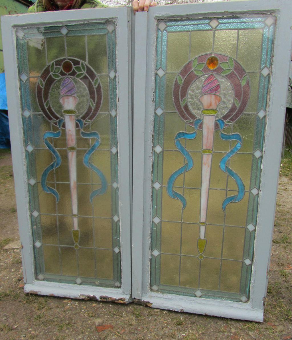 antieke glas in lood ramen