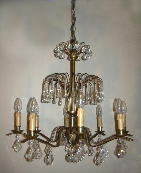 Oude art deco kristallen kroonluchter hanglamp - Moderne oude deco ...
