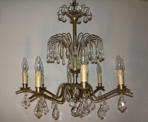 Art Deco Hanglamp : Oude art deco kristallen kroonluchter hanglamp