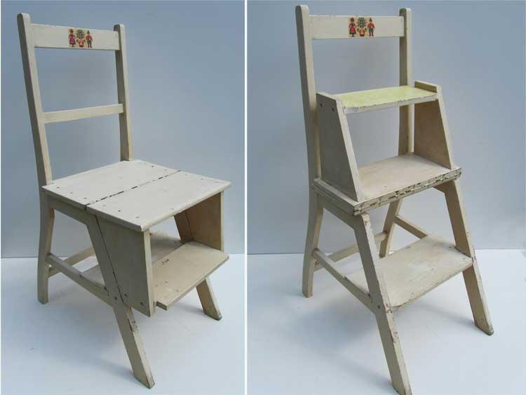 Antieke Trapstoel Bibliotheekstoel