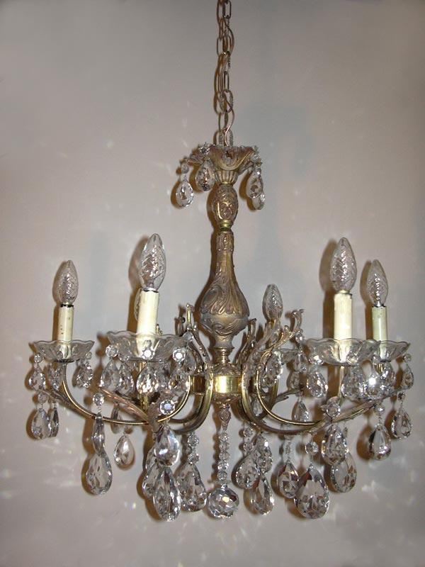 Antieke franse barokke kroonluchter met kristallen for Kristallen kroonluchter schoonmaken