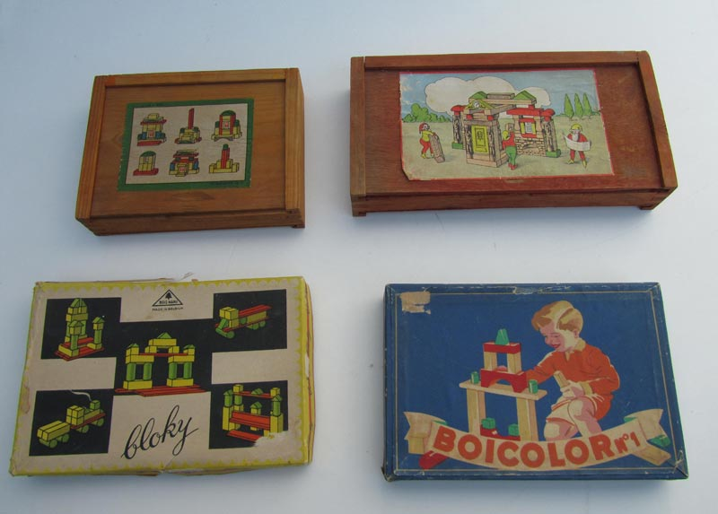 Nieuw Set van 4 oude vintage houten blokkendozen KG-27