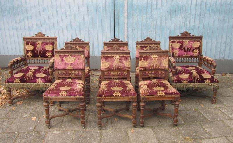8 Houten Stoelen.Set Van 8 Antieke Houten Kasteel Stoelen Kerkstoelen