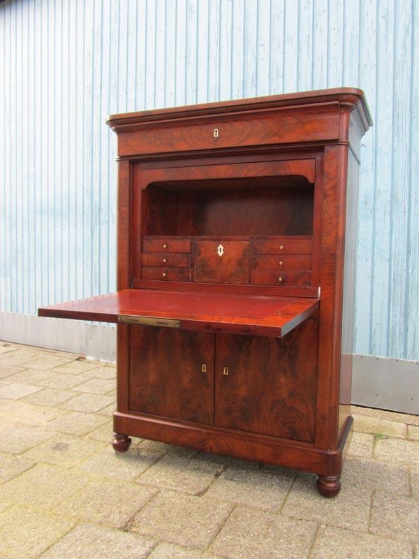 Antieke mahonie klepsecretaire, bureau kast