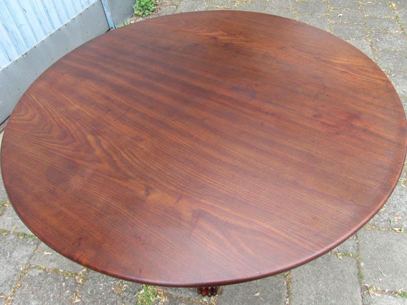 Antieke ronde tafel eettafel met klauwpoten - Zeer grote eettafel ...