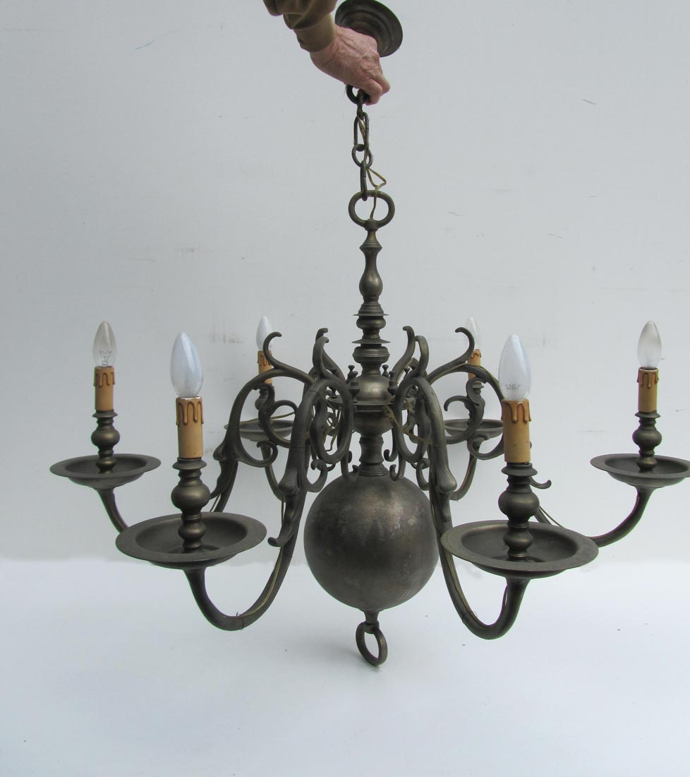 Antique Dutch Flemish Bronze Chandelier