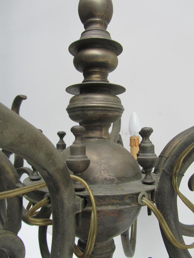 Antique Dutch Flemish Bronze Chandelier