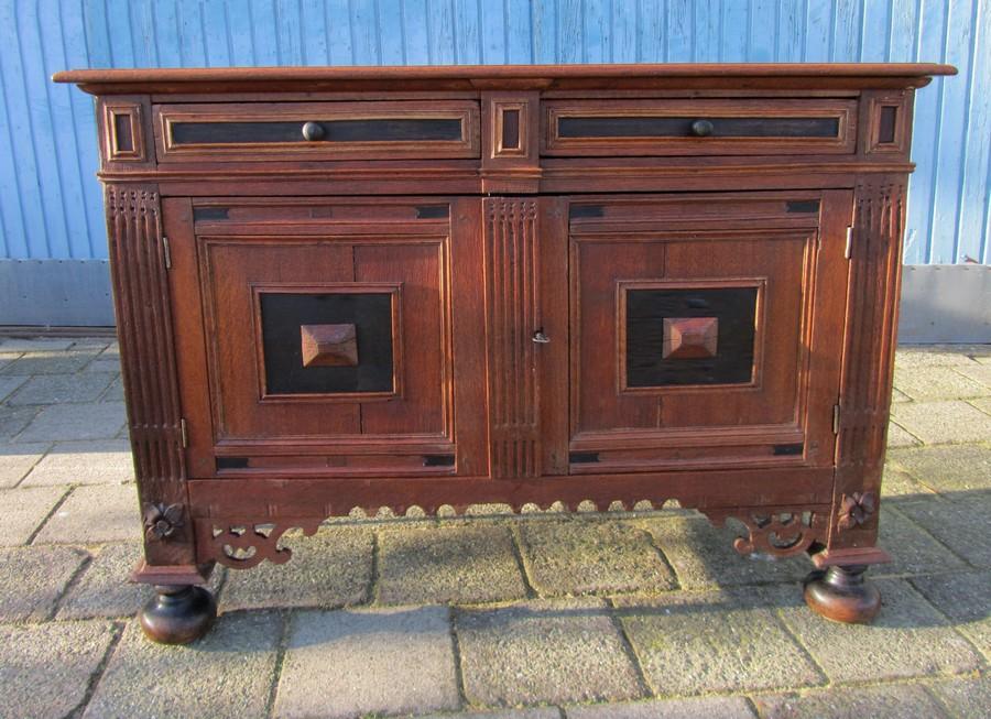 Antique Dutch Renaissance Low Cabinet Commode