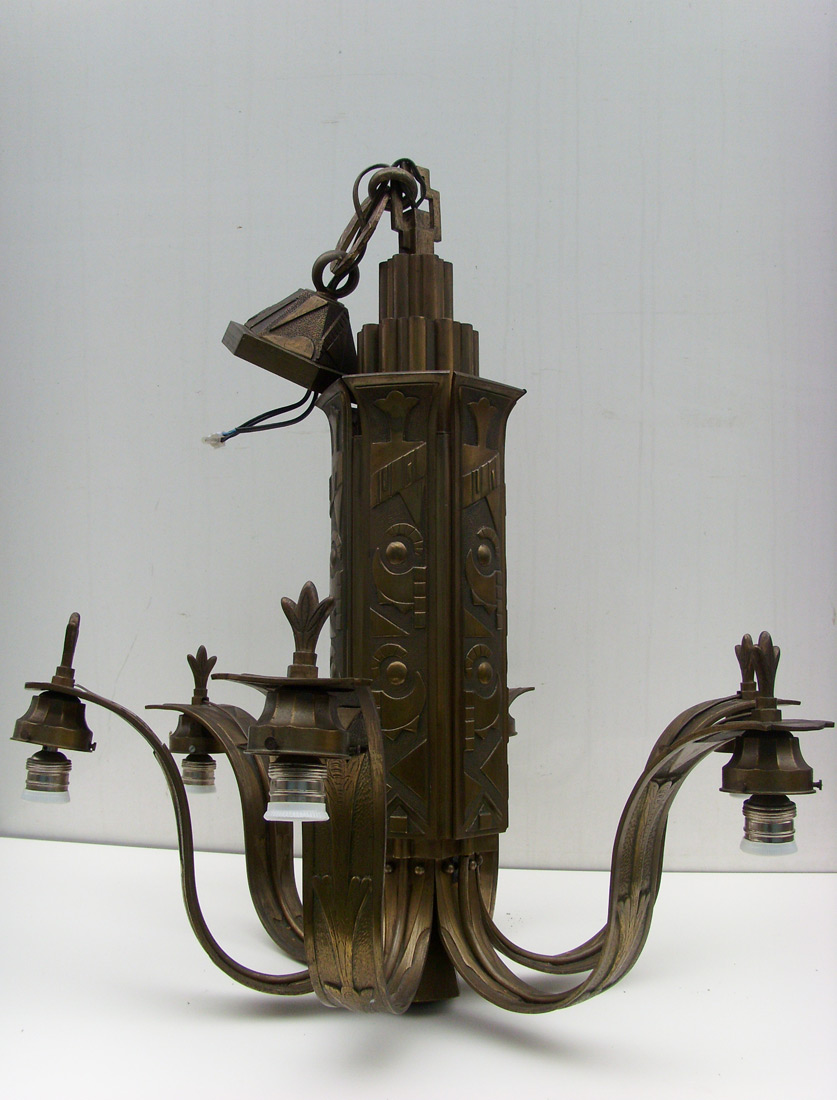 Bronze Art Deco Chandelier Imposante