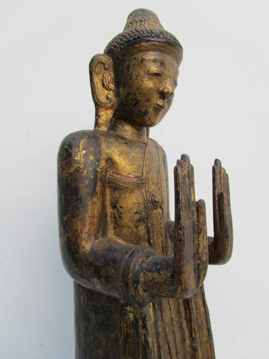 Antique Carved Wooden Gilded Statue Of Standing Buddha On