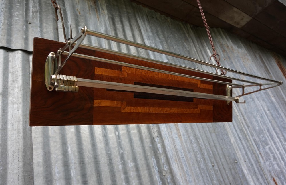 Art Deco Stijl : Art deco wall coat rack with exotic veneer