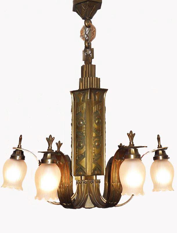 Vintage french art deco bronze chandelier antieke vintage bronzen art deco hanglamp kroonluchter bronze art deco chandelier aloadofball Gallery