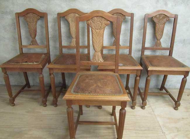 Art Deco Kuipstoelen.5 Art Deco Chairs Oak With Leather