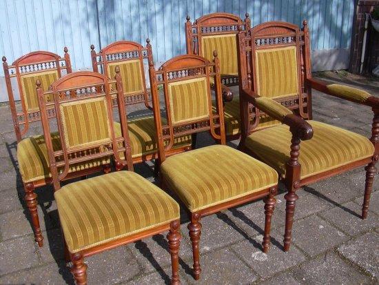 Houten Antieke Stoel.6 Art Nouveau Houten Stoelen