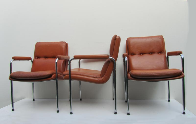 4 vintage cognac leren lounge stoelen Artifort Geoffrey Harcourt , easy chairs, conference chairs
