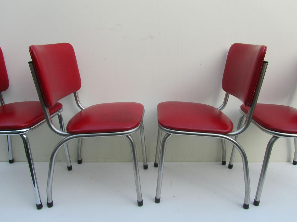 Red Vinyl 50s Bel Air Art Deco Kitchen Dining Chairs