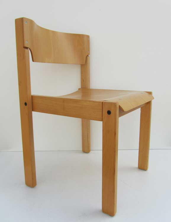 Scandinavische Design Stoelen.Vintage Minimalistic Birchwooden Chairs Stackable Plywood Chairs