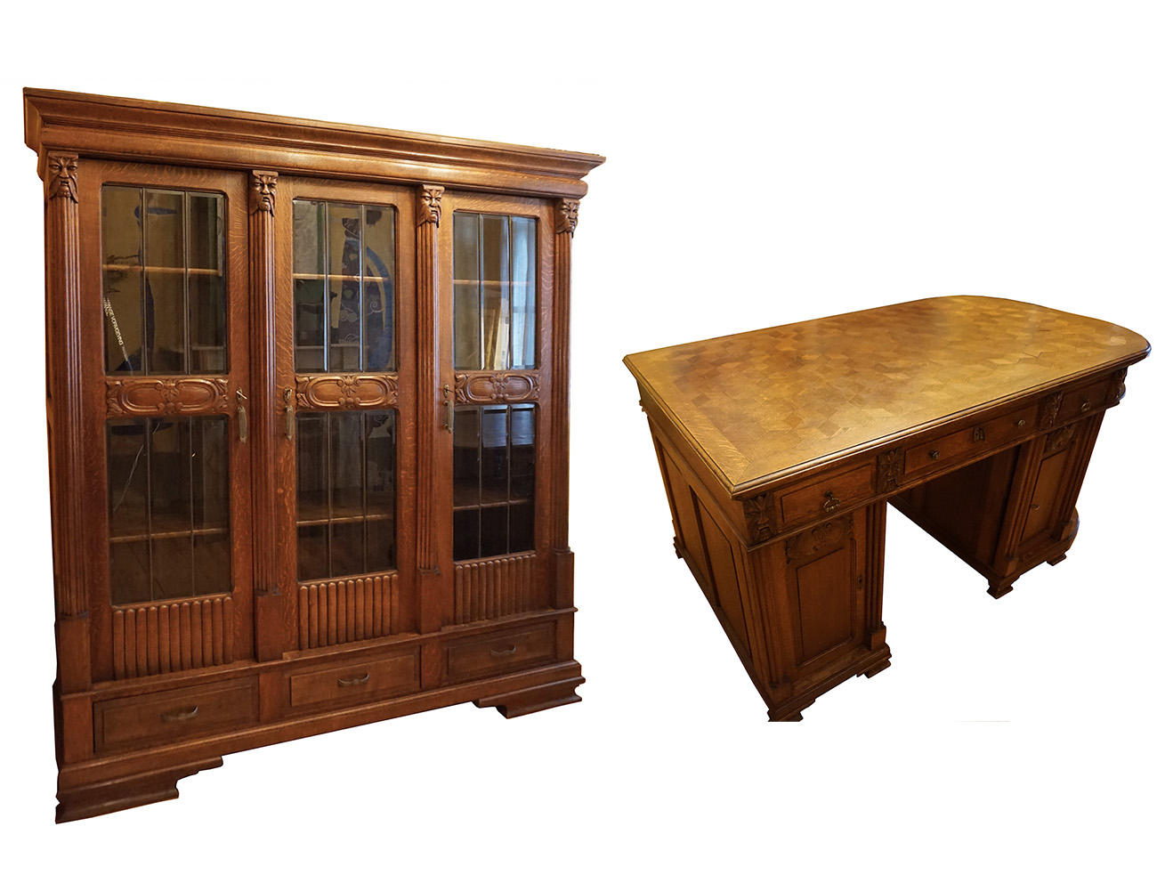 Library Bookcase And Matching Writing Desk