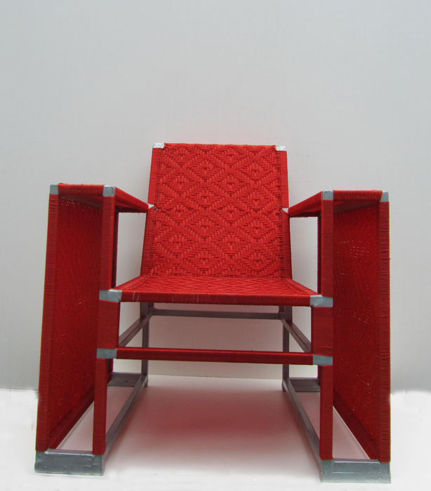 Vintage Design Fauteuil.Red Woven Nylon Vintage Design Armchair With A Grey Painted Steel