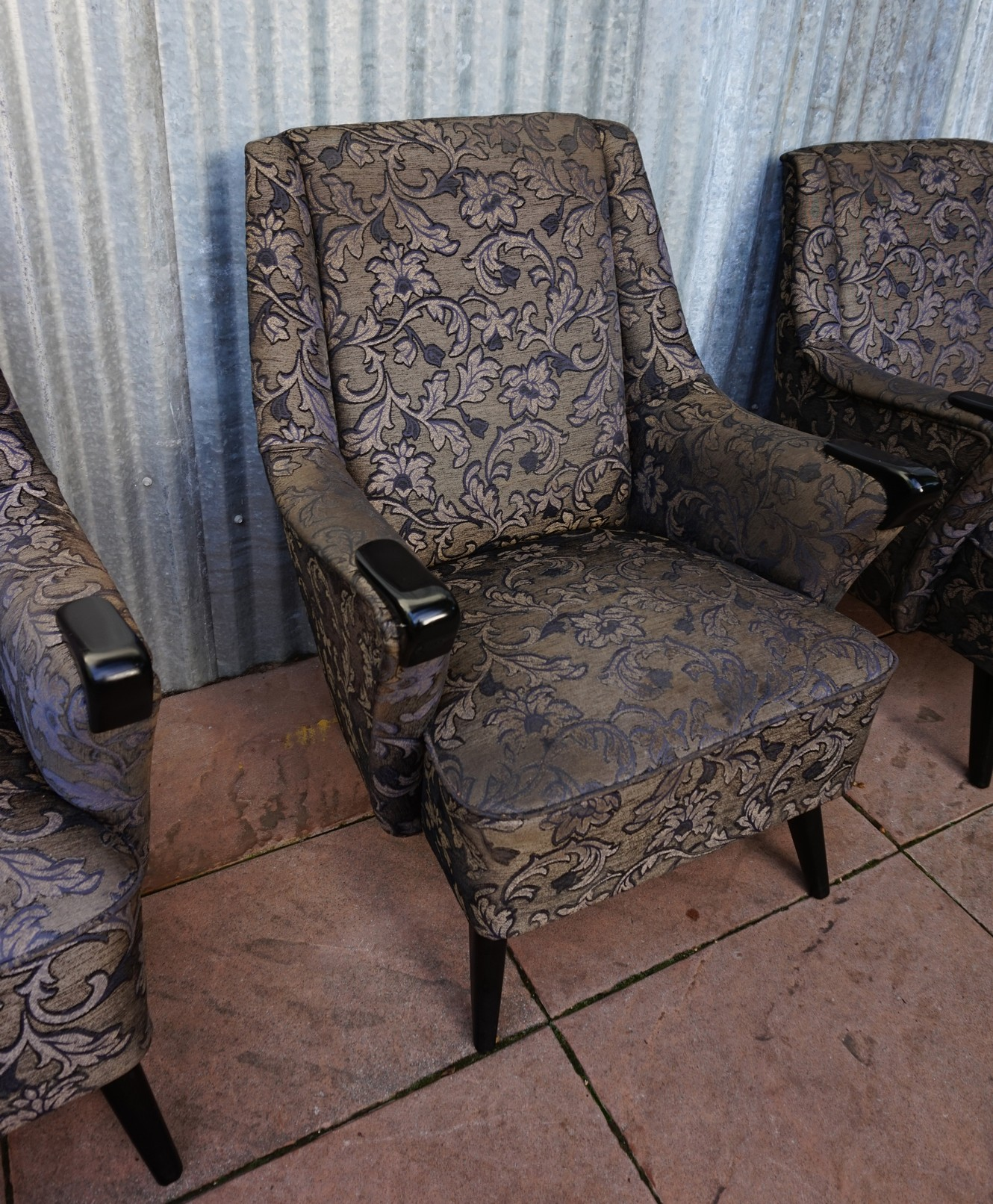 set of 3 vintage retro cocktail fauteuil club chairs. Black Bedroom Furniture Sets. Home Design Ideas