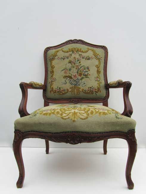 2 antieke eikenhouten franse louis xv geborduurde fauteuils armstoelen - Stoel dineren baroque ...