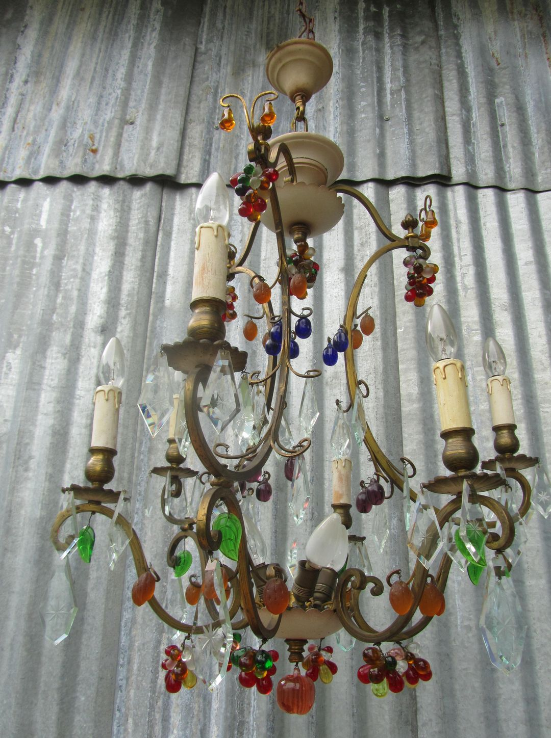 Vintage Antique Italian Murano Glass Fruit and Crystal Chandelier – Fruit Chandelier