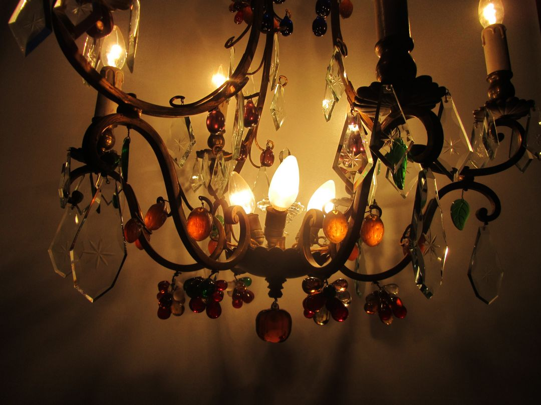 Vintage Italian Murano Glass And Fruit Chandelier