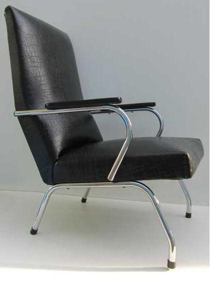 Buisframe Stoelen Vintage.Retro Vintage Tube Frame Black Skai Easy Chair Lounge Chair
