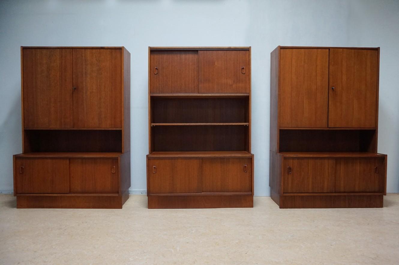 Spiksplinternieuw Vintage retro teak boekenkasten van JEHA wandmeubel, dressoir BR-67