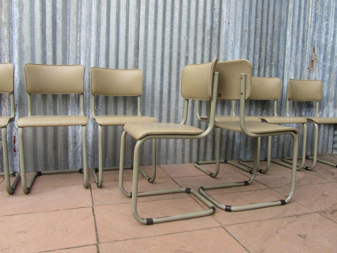 Buisframe Stoelen Vintage.8 Vintage Tubax Cantilever Chairs 1959