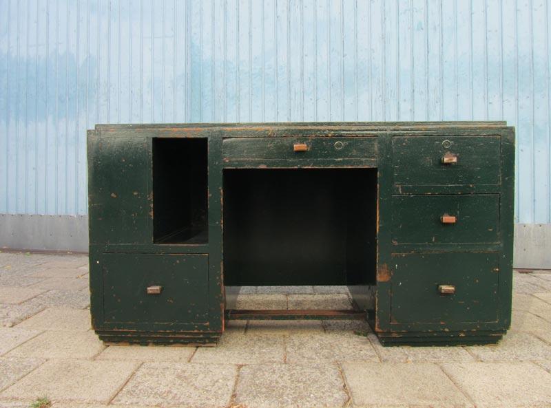 Industriel houten kubistisch bureau - Bureau design vintage ...