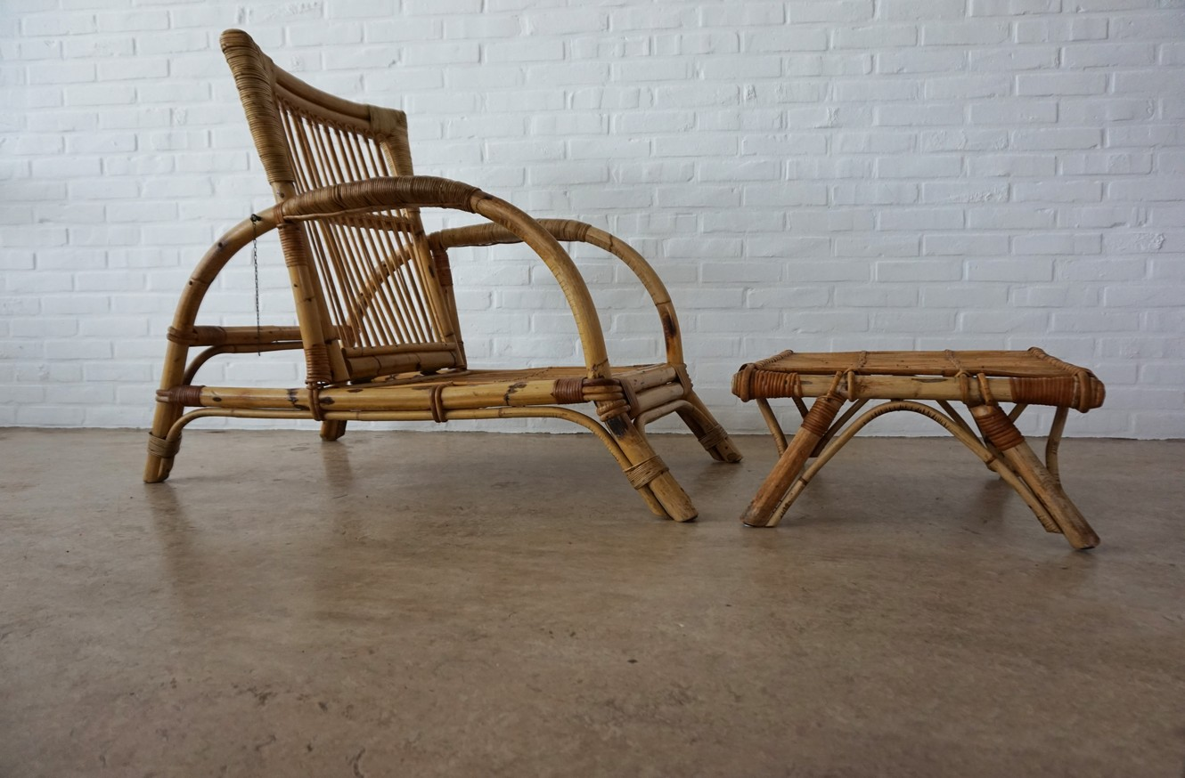 Lounge Stoel Retro.Vintage Mid Century Bamboo Adjustable Lounge Chair Armchair With
