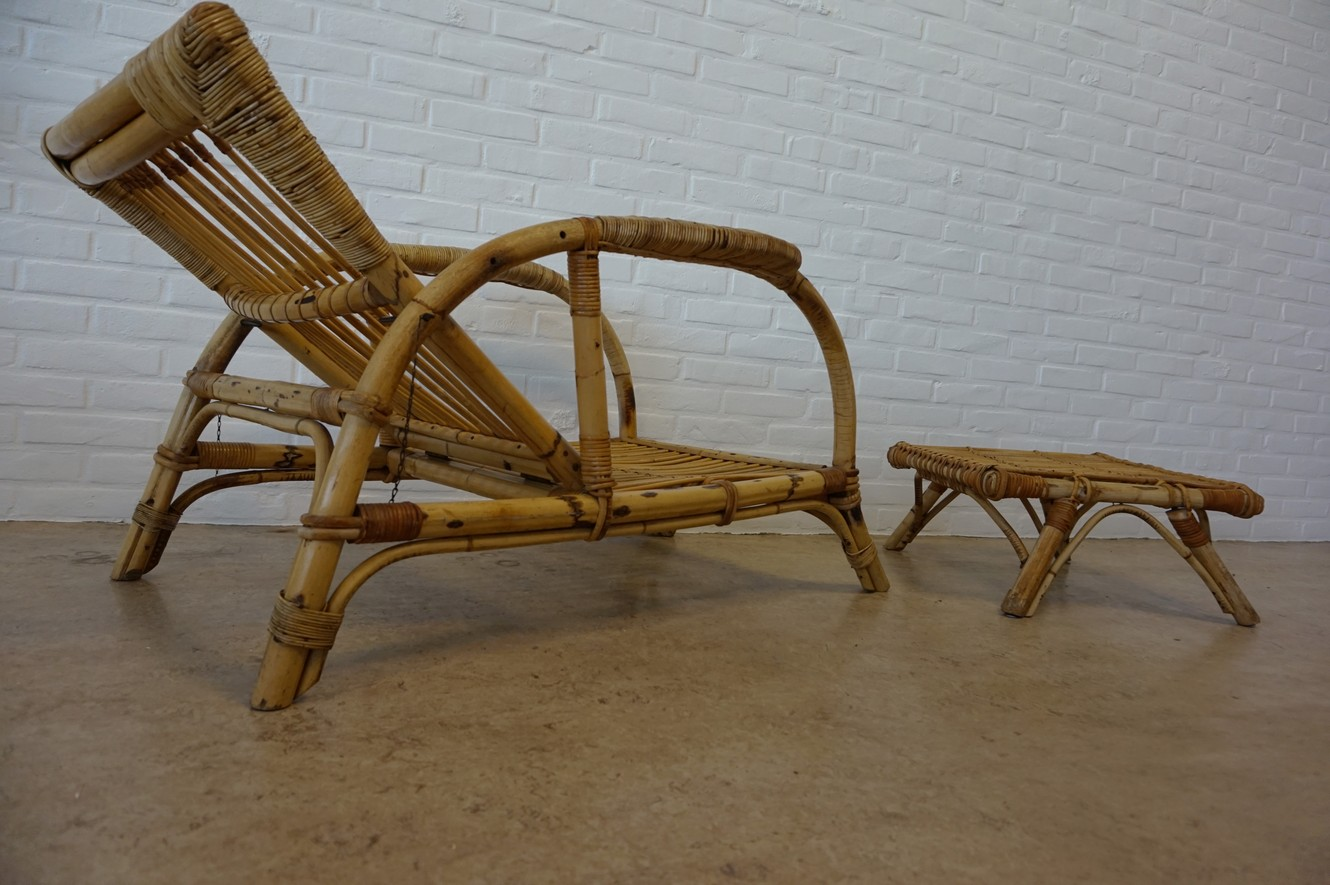 Antieke Lounge Stoel.Vintage Mid Century Bamboo Adjustable Lounge Chair Armchair With