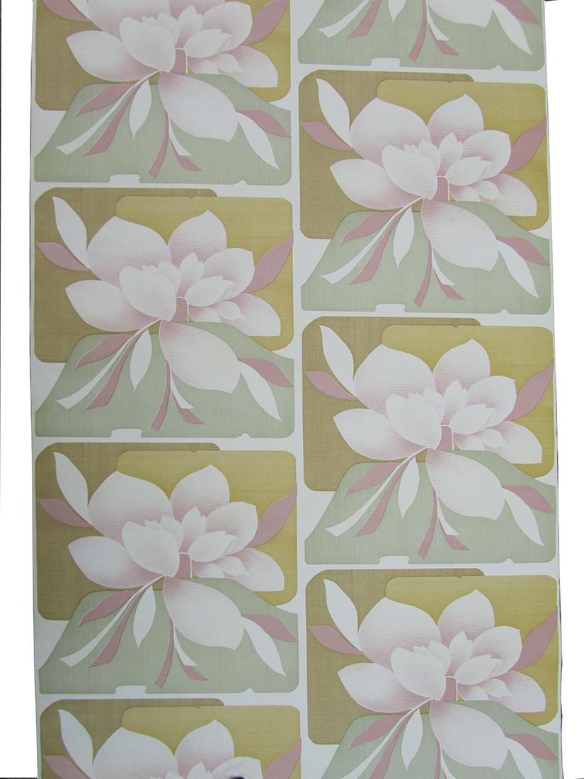 Voorkeur Retro vintage behang, magnolia bloemen behang, roze groen GU07