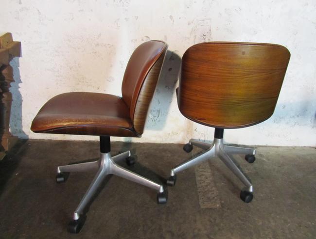 2 vintage leren MIM Roma stoelen, bureaustoelen, Ico Parisi