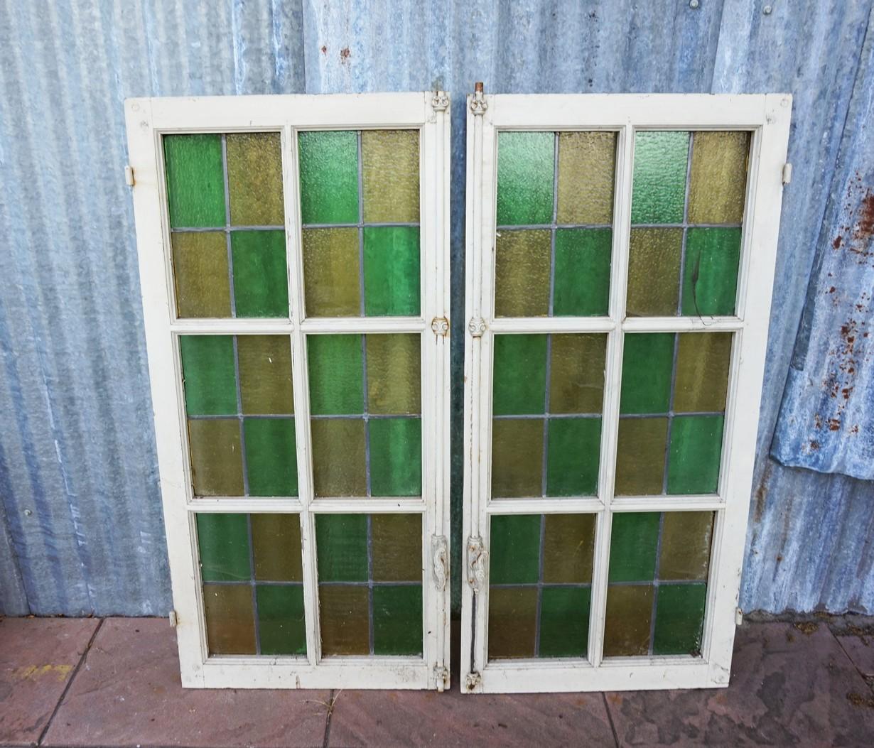 Glas En Lood Ramen.Antique Stained Glass Windows Set Of 2