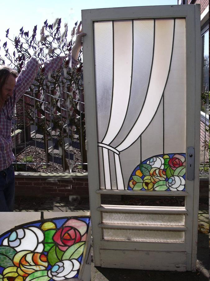 Oude glas in lood deur buitendeur bloemen in art deco stijl - Moderne oude deco ...