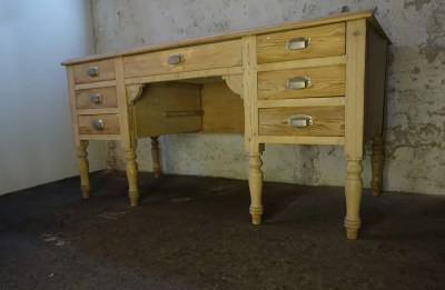 Oud, antiek, Frans, houten, brocante, bureau, lades, pine, writing, desk, French