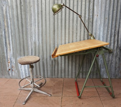 Industriele, vintage, Nestler, tekentafel, drawing, table, Jielde, lamp, Friso Kramer, kruk, stool