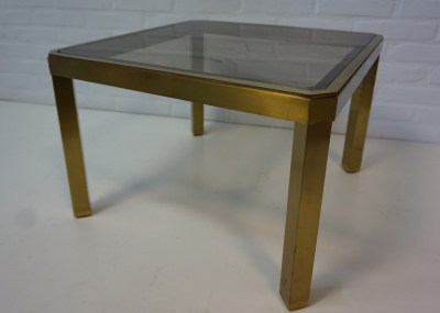 Maison Jansen, Belgo Chrom, Willy Rizzo, Guy Lefevre, Hollywood Regency, vintage tafel, gerookt glas